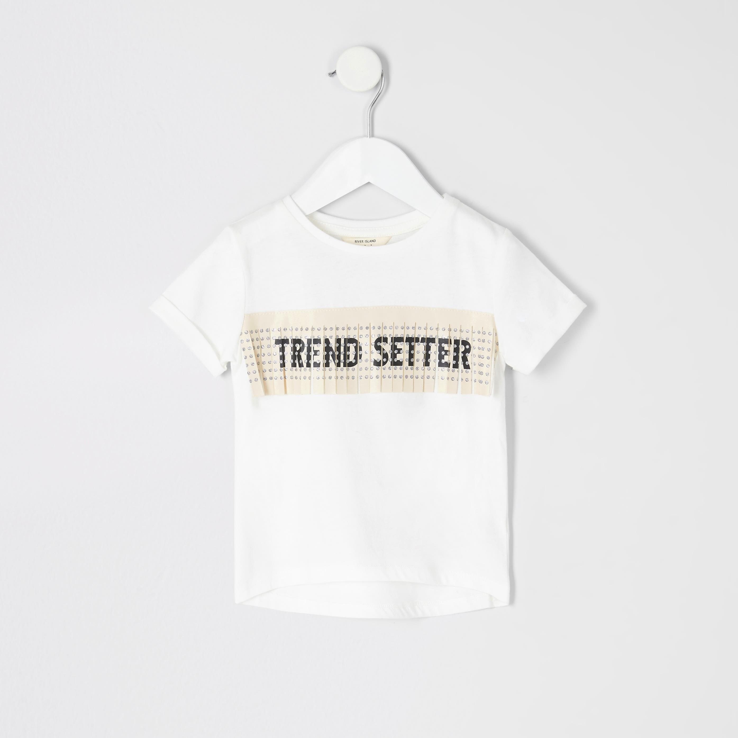 River Island Baby Girls Cream printed fringe T-shirt (6-9 Mths)