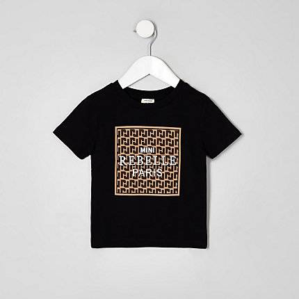 River Island Toddler Boys Black 'mini rebelle' T-shirt (Size 3 - 4 Years)