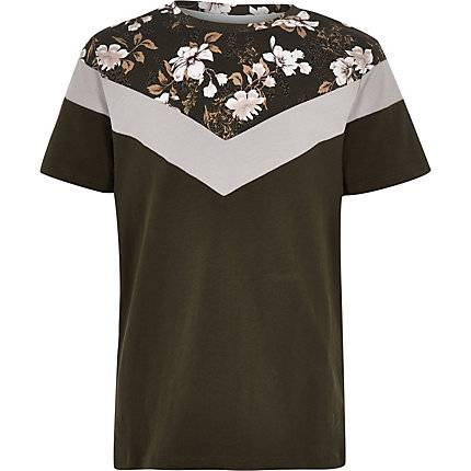 River Island Boys Khaki floral vertical block T-shirt (Size 9 - 10 Years)