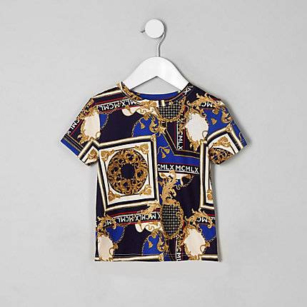 River Island Baby Boys Navy baroque print T-shirt (Size 12 - 18 Mths)