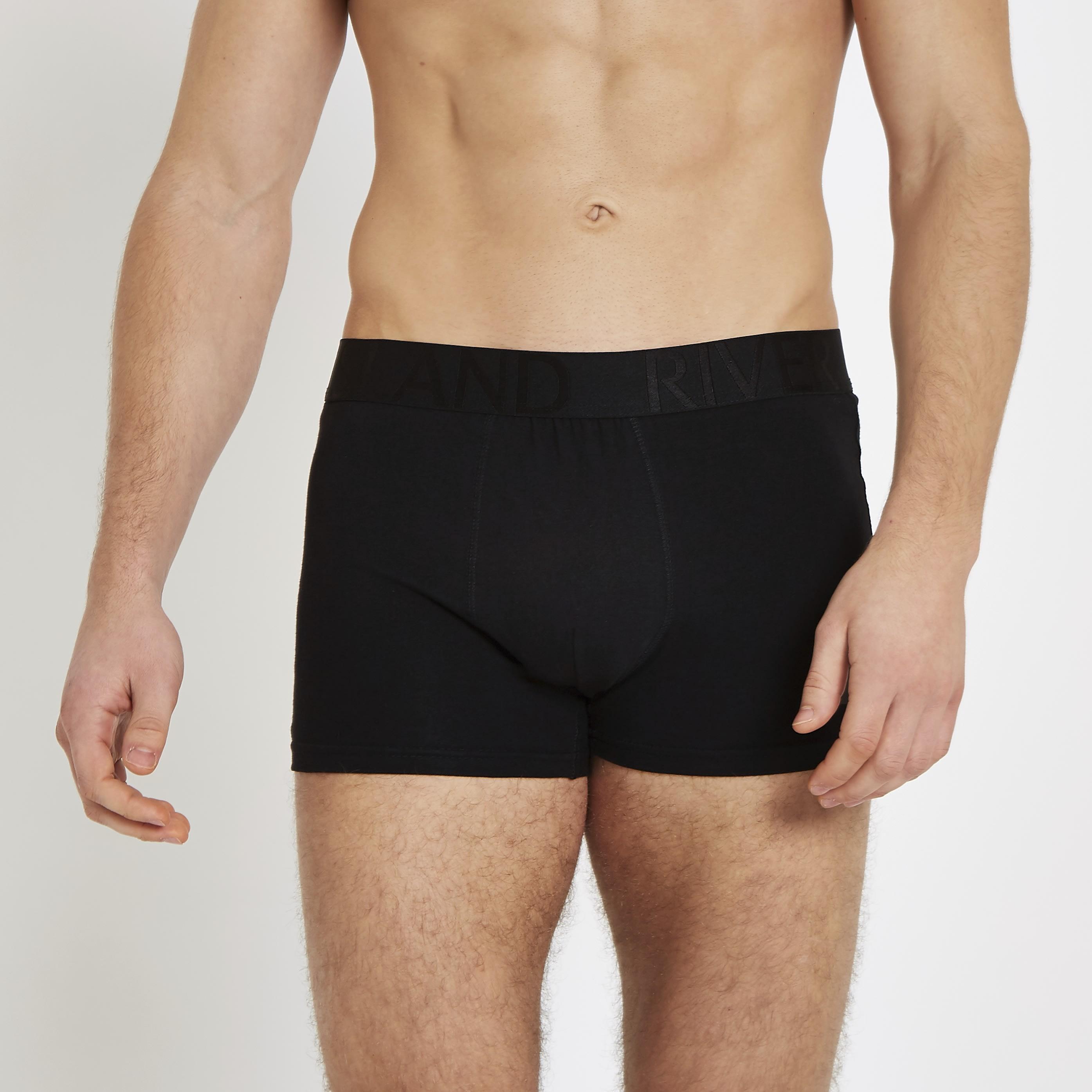 River Island Mens Black RI waistband trunks 5 pack (S)