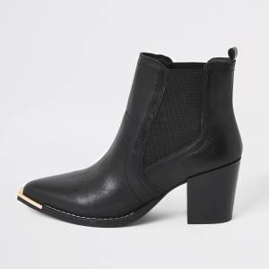 river island Womens Black leather western chelsea ankle boots (5)