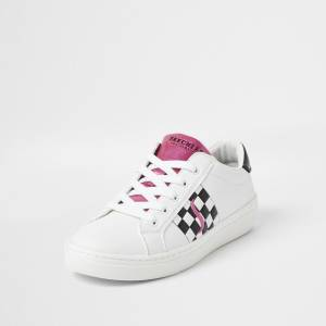 skechers Womens Skechers White check print lace up trainers (4)