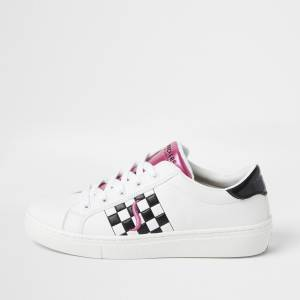 skechers Womens Skechers White check print lace up trainers (7)