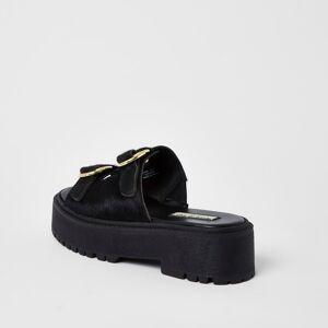 river island Womens Black double buckle flatform sandal (3)