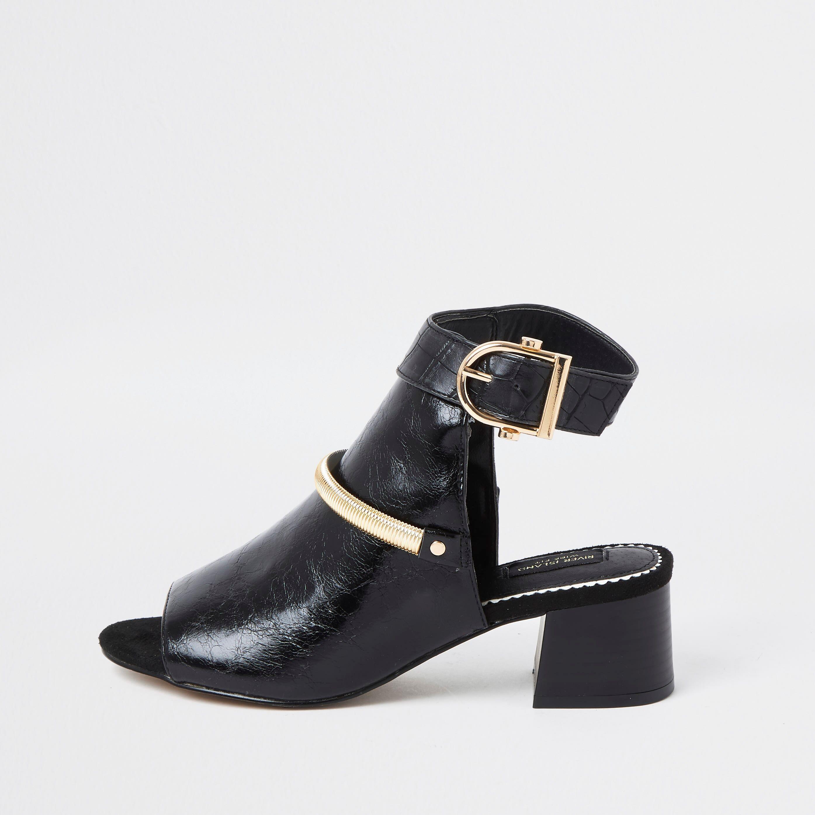 river island Womens Black wide fit block heel shoe boot (3)
