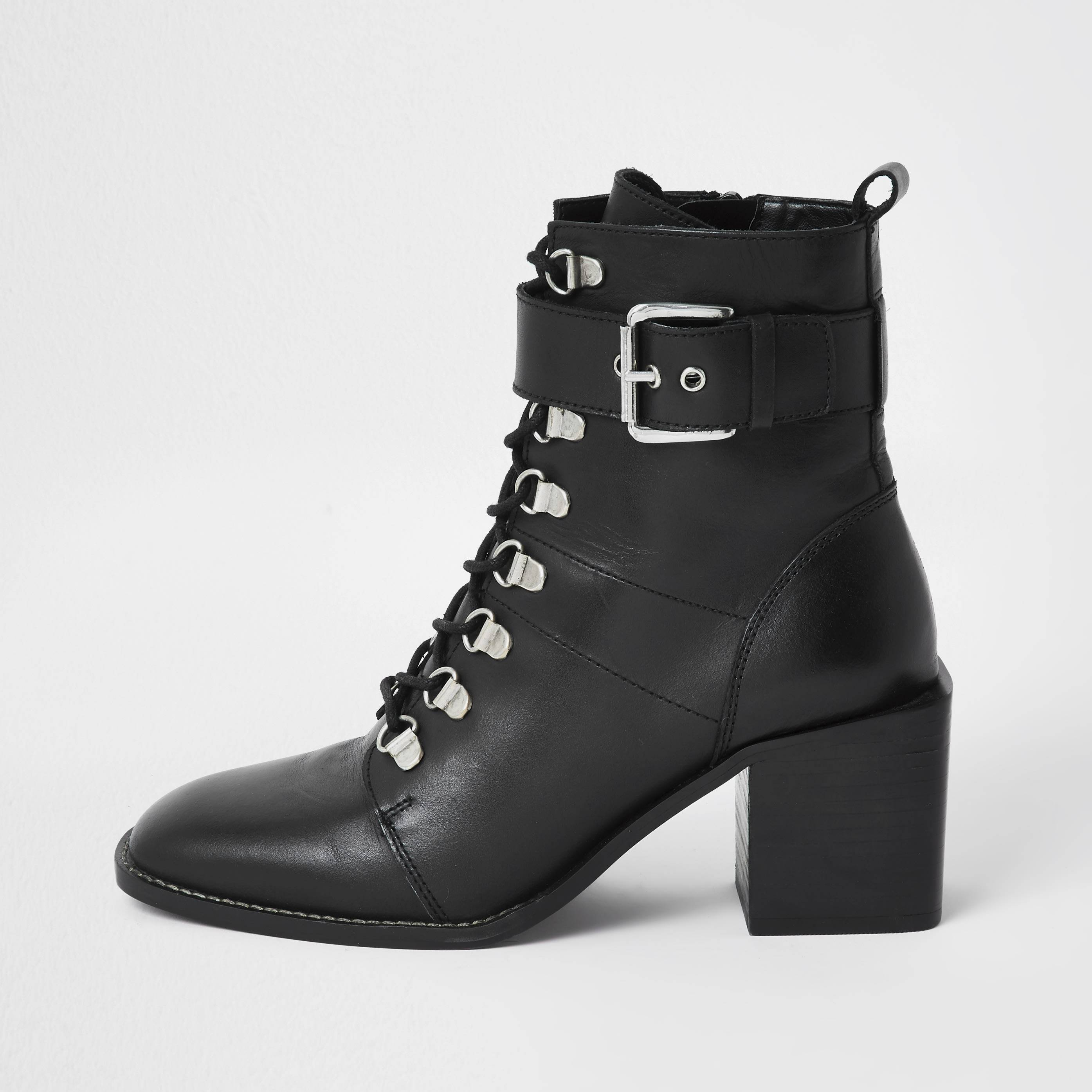 river island Womens Black lace up block heel boots (5)