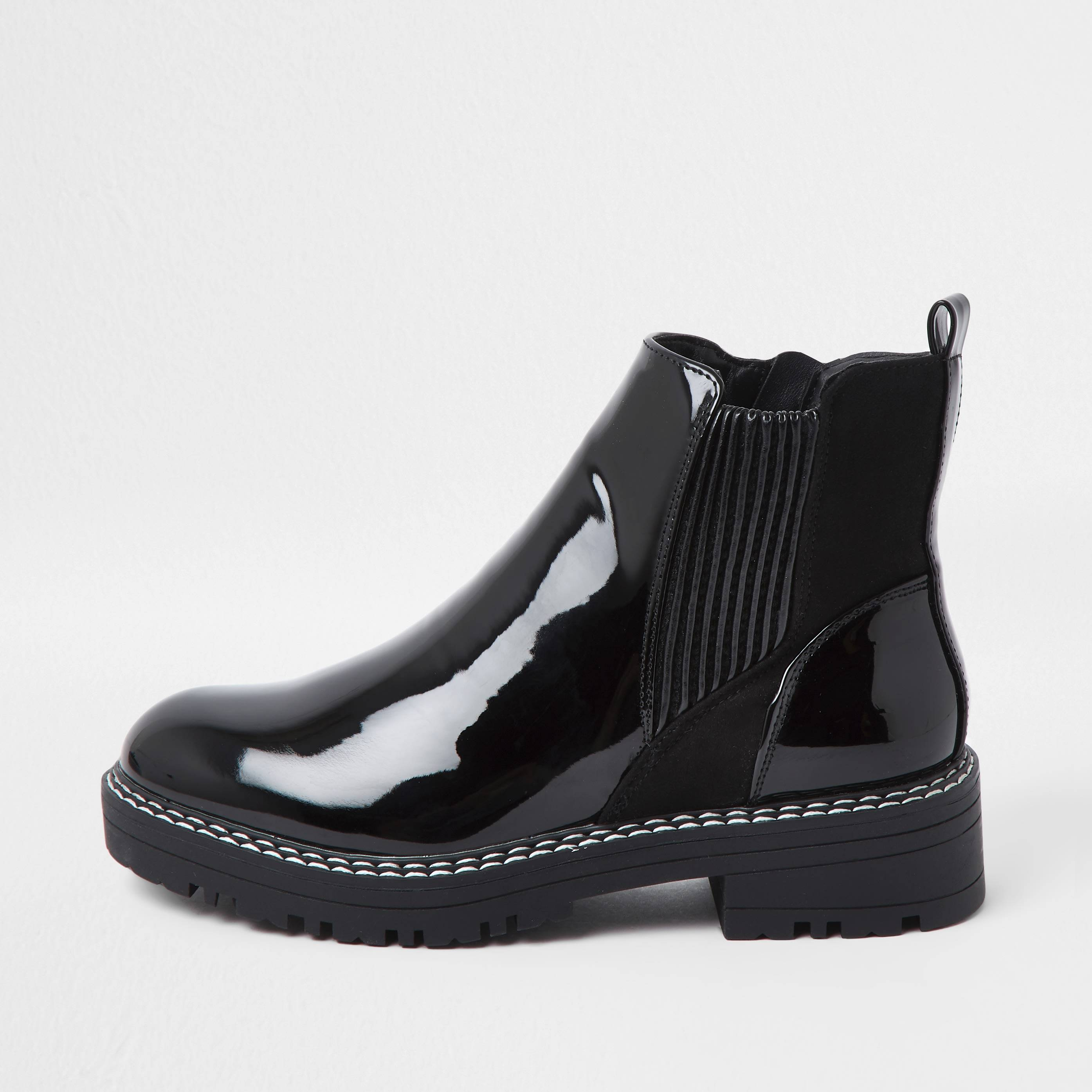 river island Womens Black flat wide fit chunky chelsea ankle boot (4)