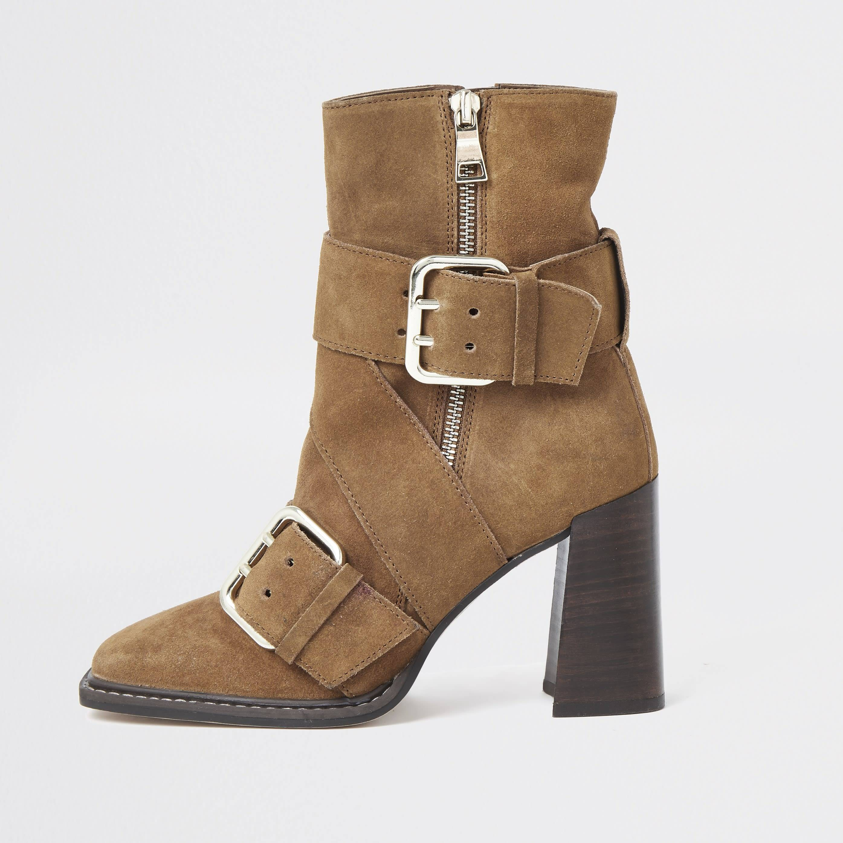 river island Womens Rust suede buckle square toe boot (9)
