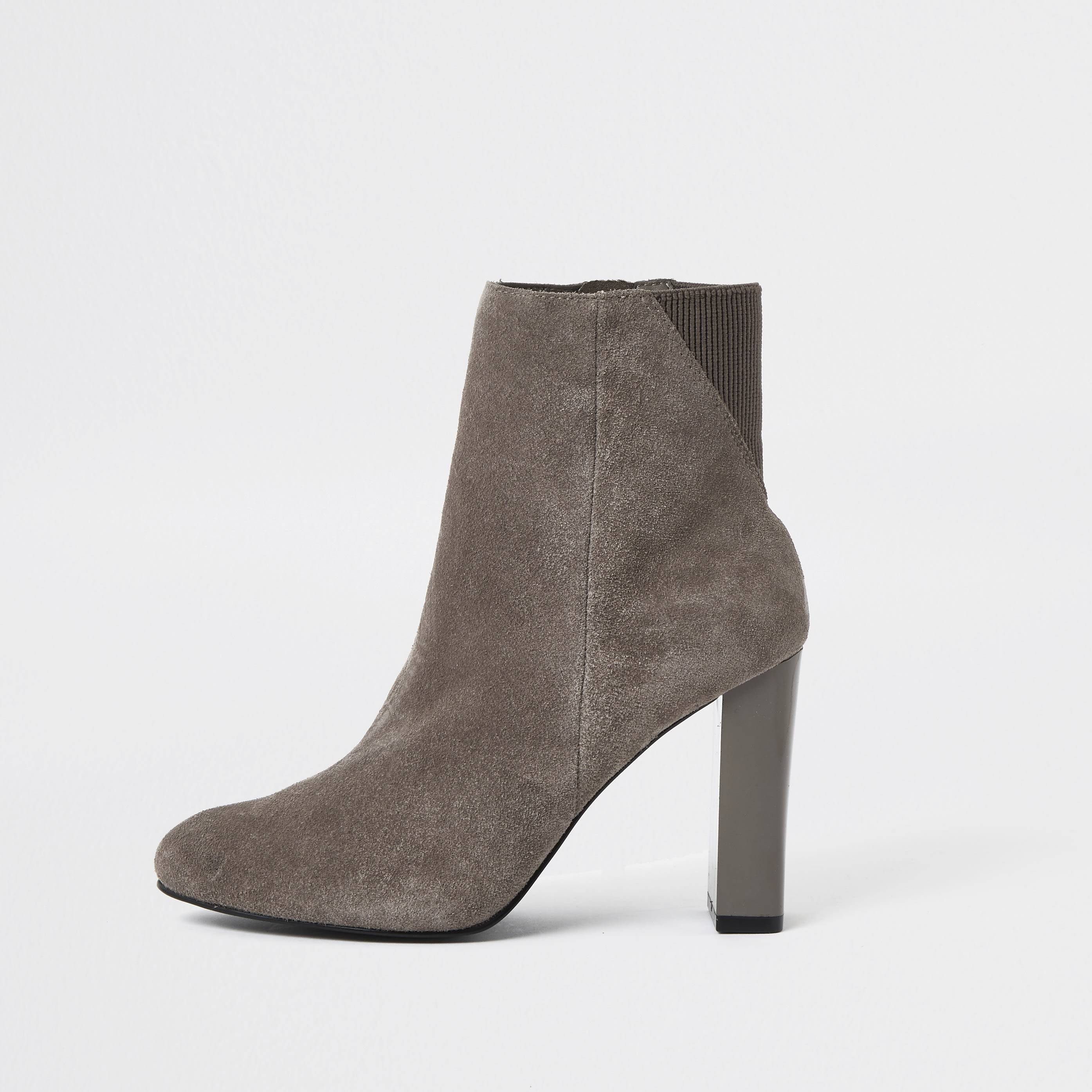 river island Womens Grey smart heeled ankle boot (6)