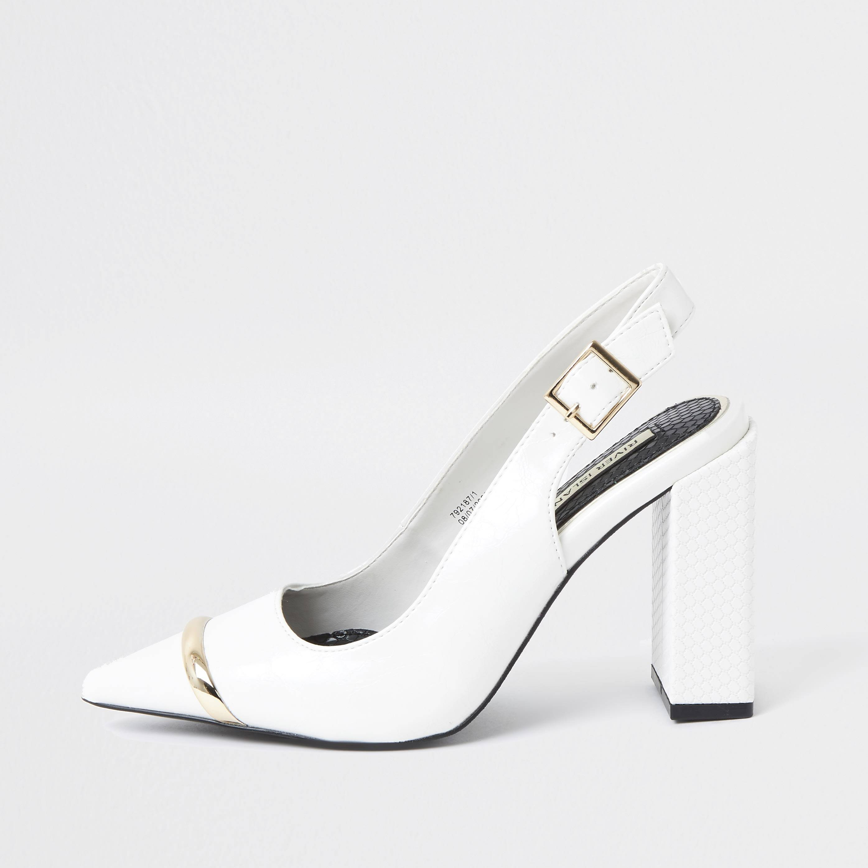 river island Womens White metal toe sling back court heel (4)