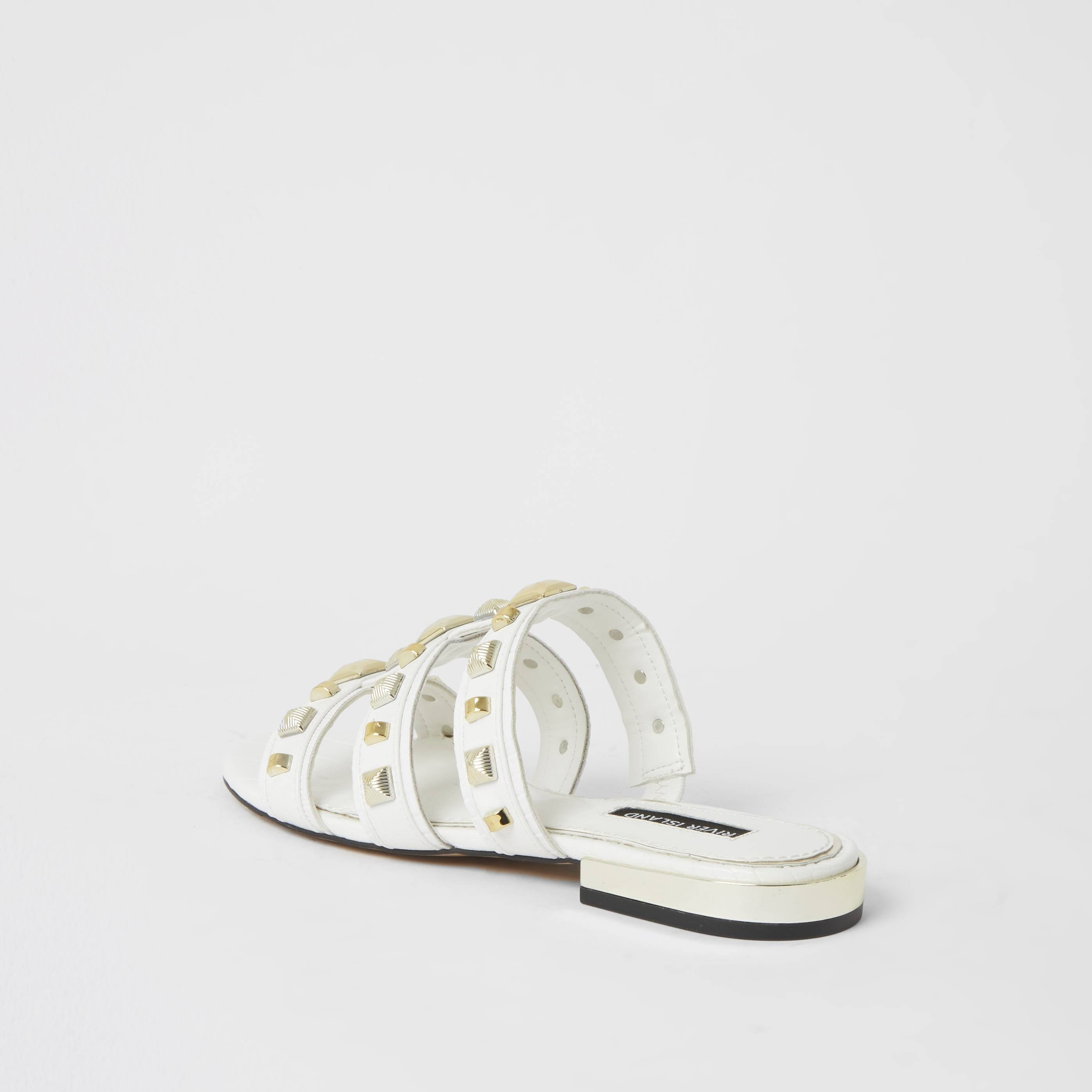 river island Womens White caged studded flat Mule sandal (6)