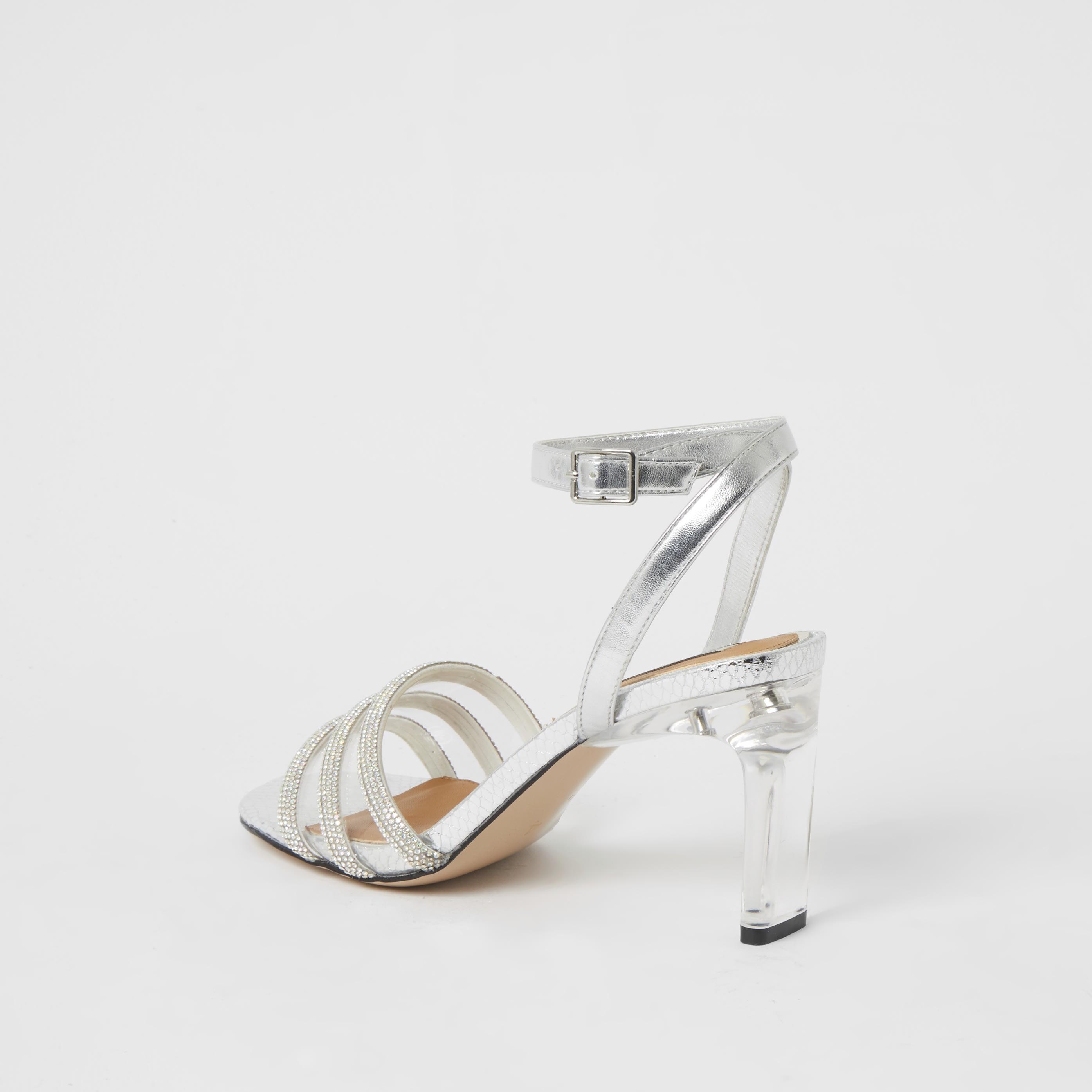 river island Womens Silver metallic diamante perspex heel sandals (6)