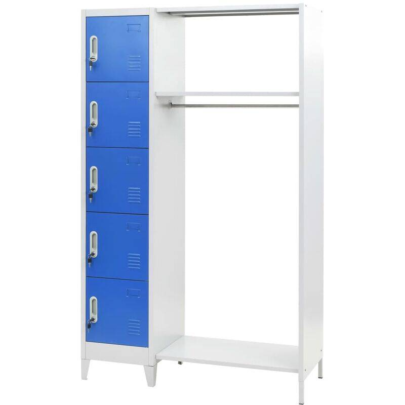 Youthup - Locker Cabinet with Coat Rack Blue and Grey 110x45x180 cm Metal