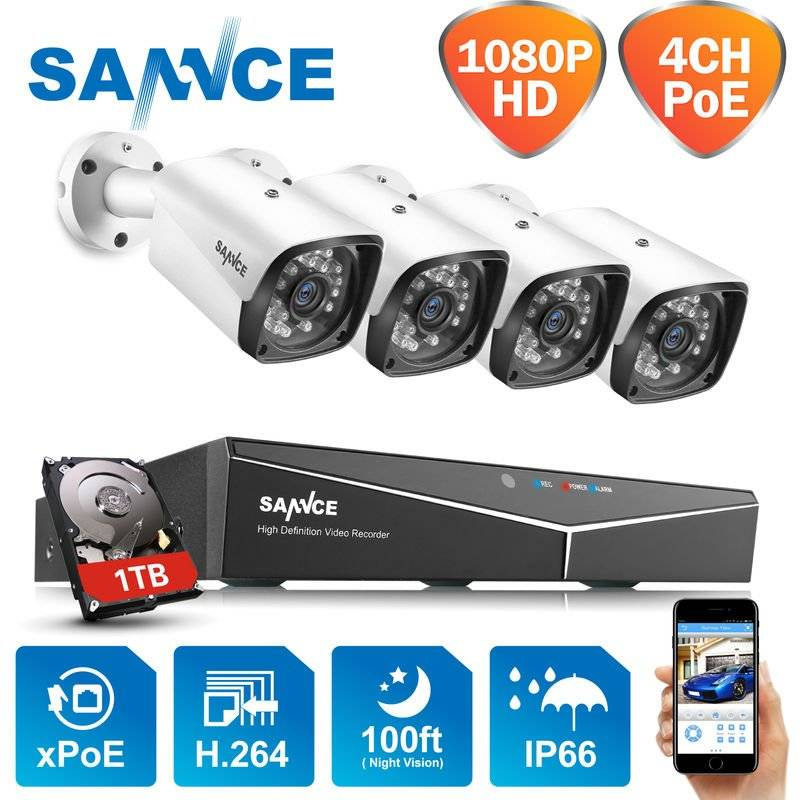 SANNCE 4-Channel 1080P XPoE Network Video Security System (NVR Kit) with 4*1080P