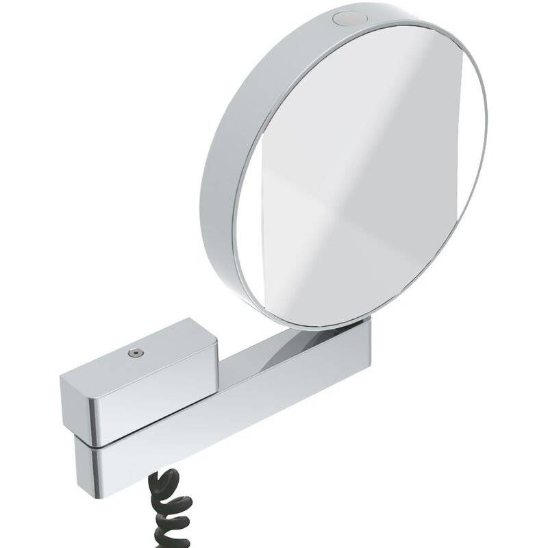 Emco LED shaving and cosmetic mirror, mirrored on both sides, magnification 3