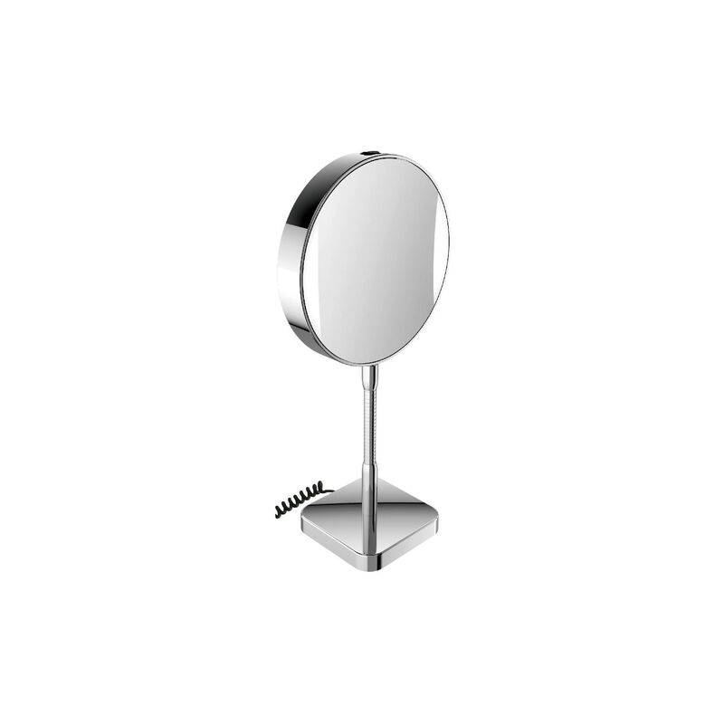 Emco LED shaving and cosmetic mirror, mirrored on both sides, magnification 3x