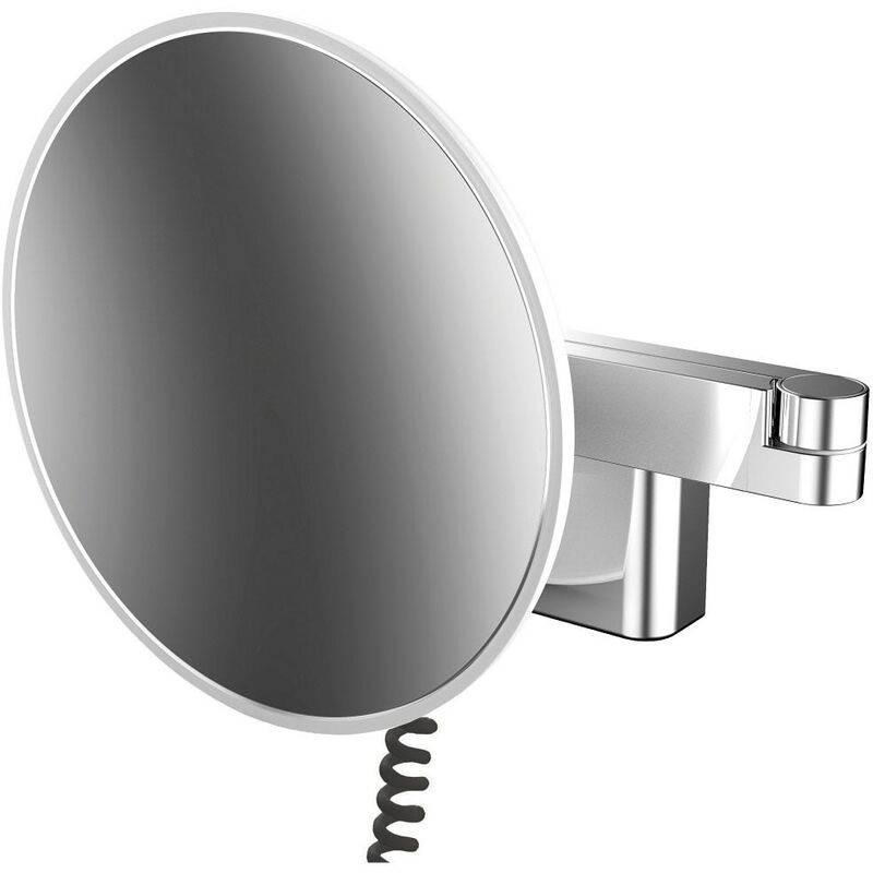 Emco LED shaving and cosmetic mirror, wall model, double-jointed arm,