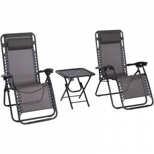 Outsunny 3pcs Sun Lounger Set Reclining Folding Zero Gravity Chair Table Grey - Outsunny