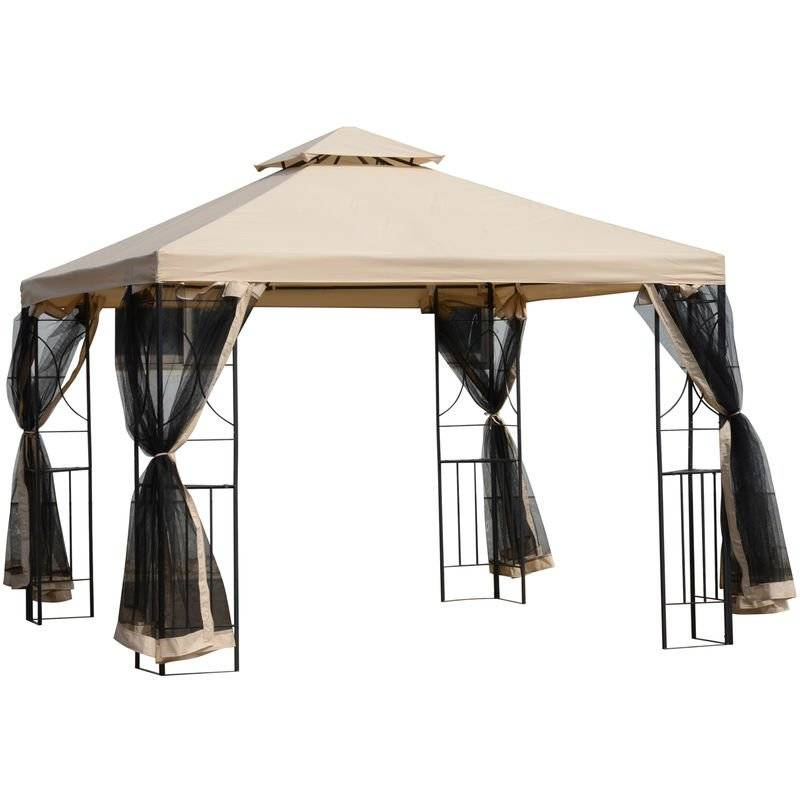Outsunny Steel Outdoor Gazebo Canopy Event Shelter Sunshade w/ Netting & Roof 3x3(m)