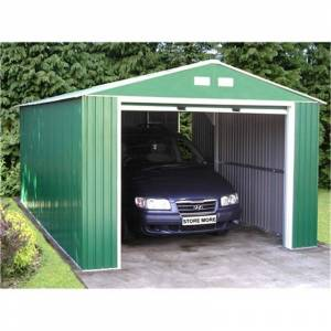 SALFORD WORKSHOPS - GARAGES 12 x 32 Budget Metal Garage (3.72m x 9.65m)