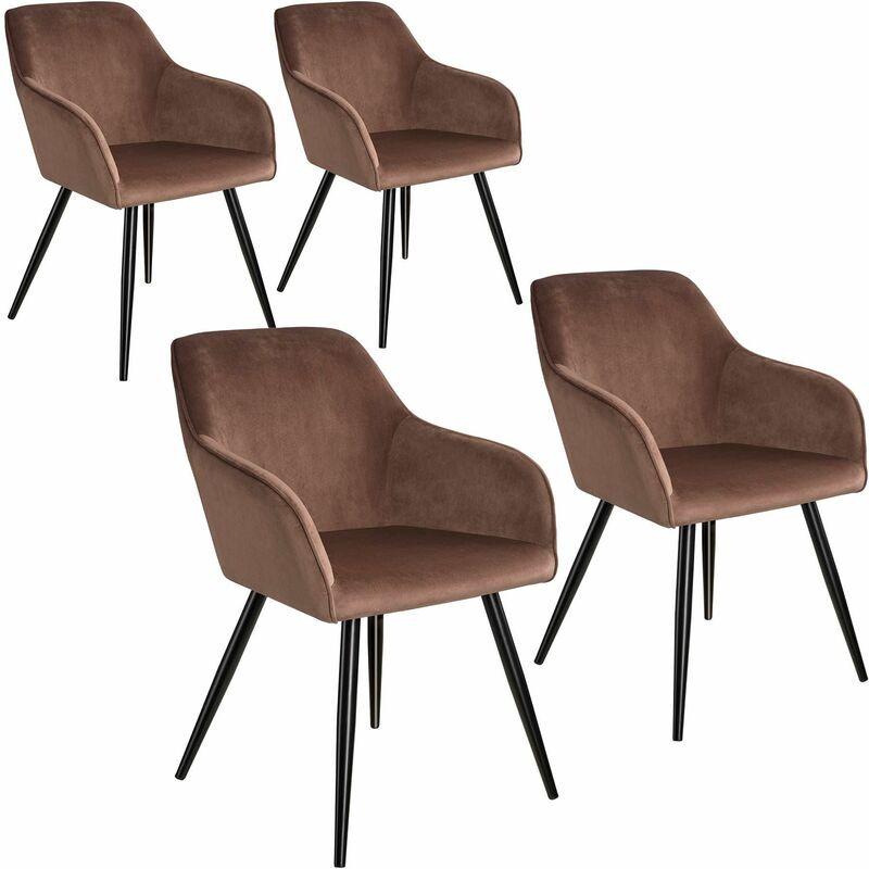 TECTAKE 4 Marilyn Velvet-Look Chairs - brown/black - braun/schwarz