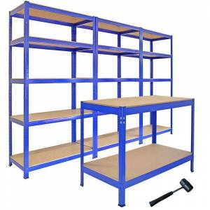 Monster Cable : 3 T-Rax Storage Shelving Units & 120cm Q-Rax Workbench - Monster Racking