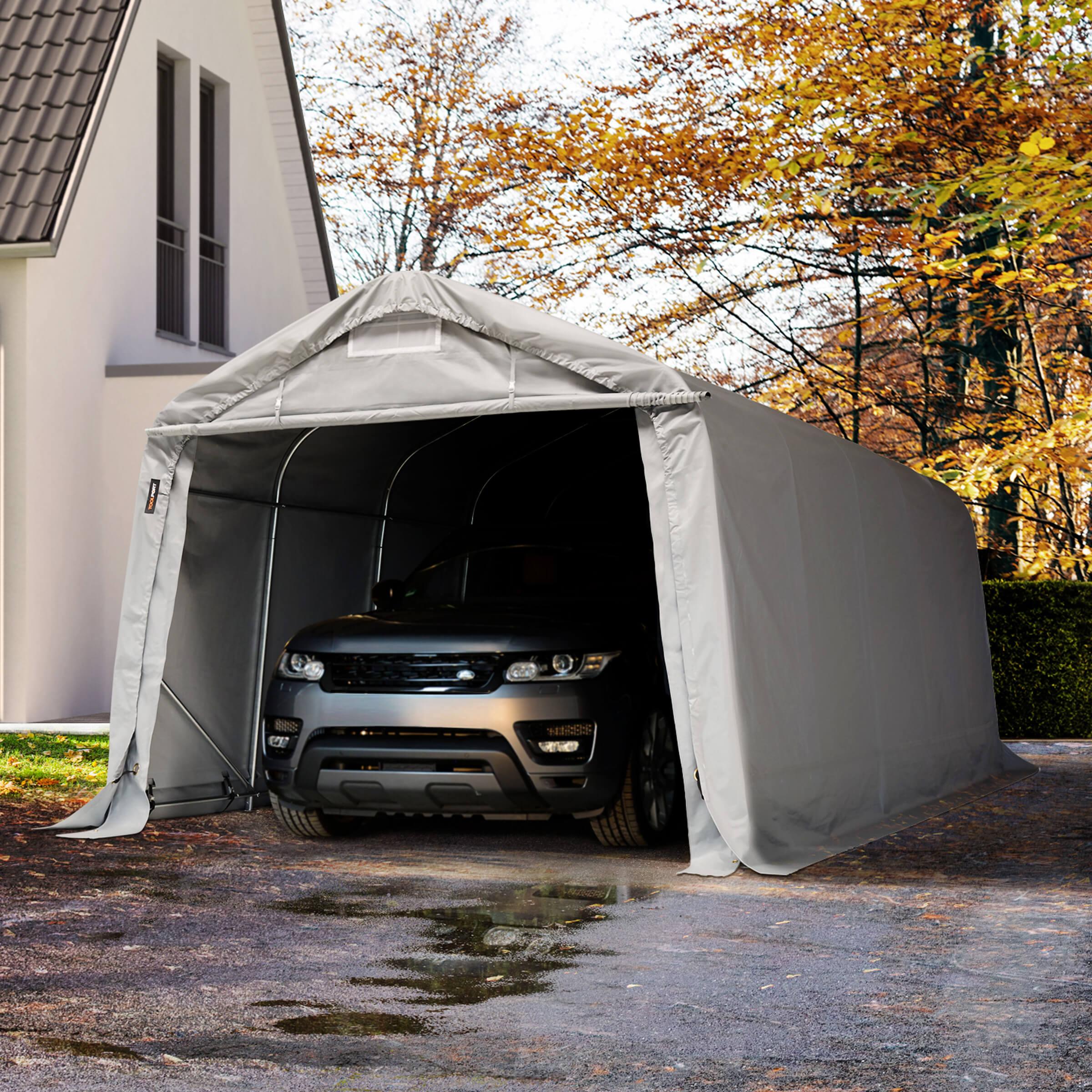 TOOLPORT Portable Garage 3,3x6,0m PVC 720 g/m² grey waterproof