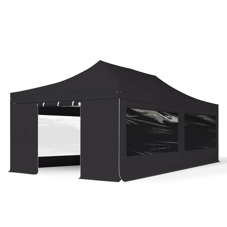 TOOLPORT Pop Up Gazebo 4x8m High Performance Polyester 400 g/m² black waterproof