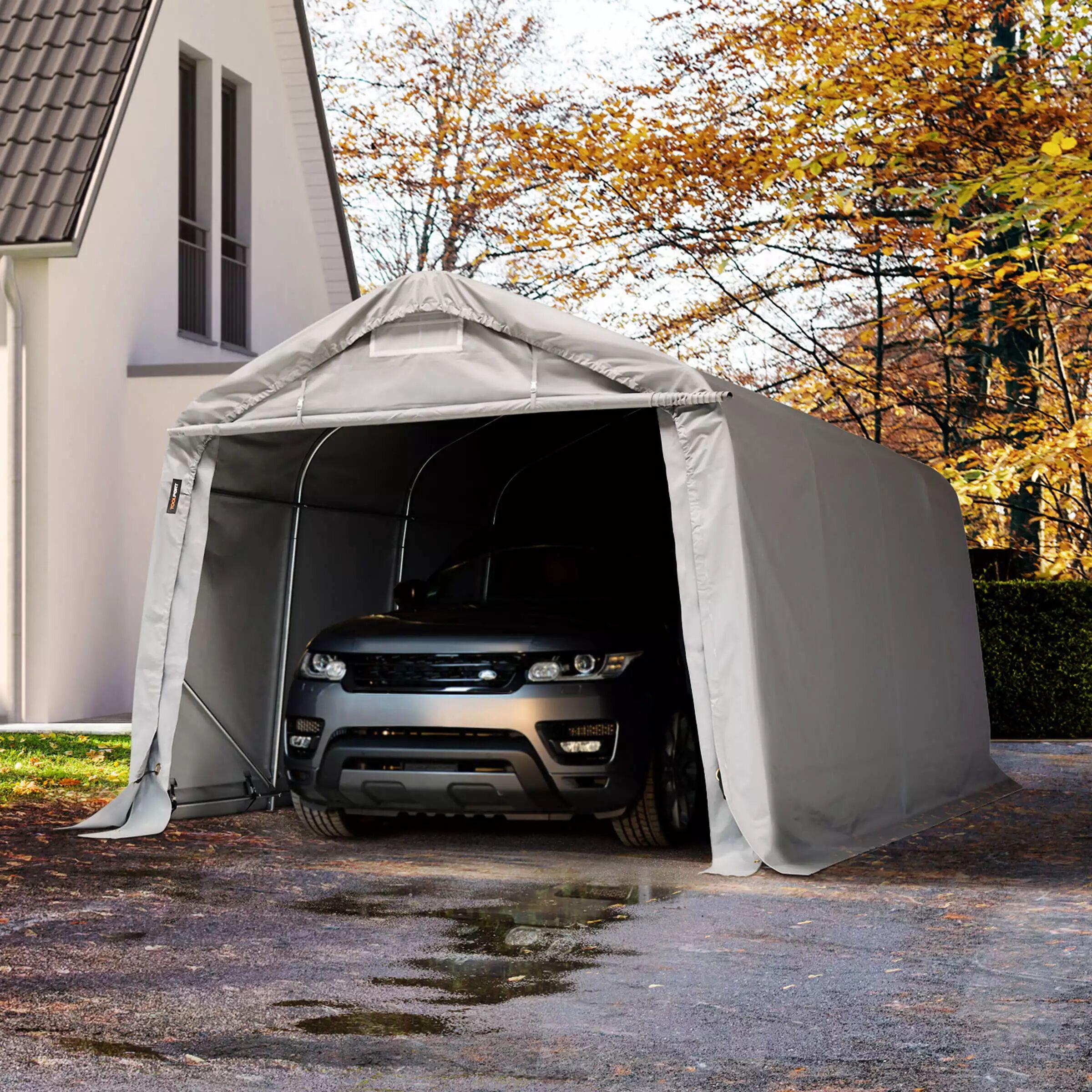 TOOLPORT Portable Garage 3,3x4,8m PVC 550 g/m² grey waterproof