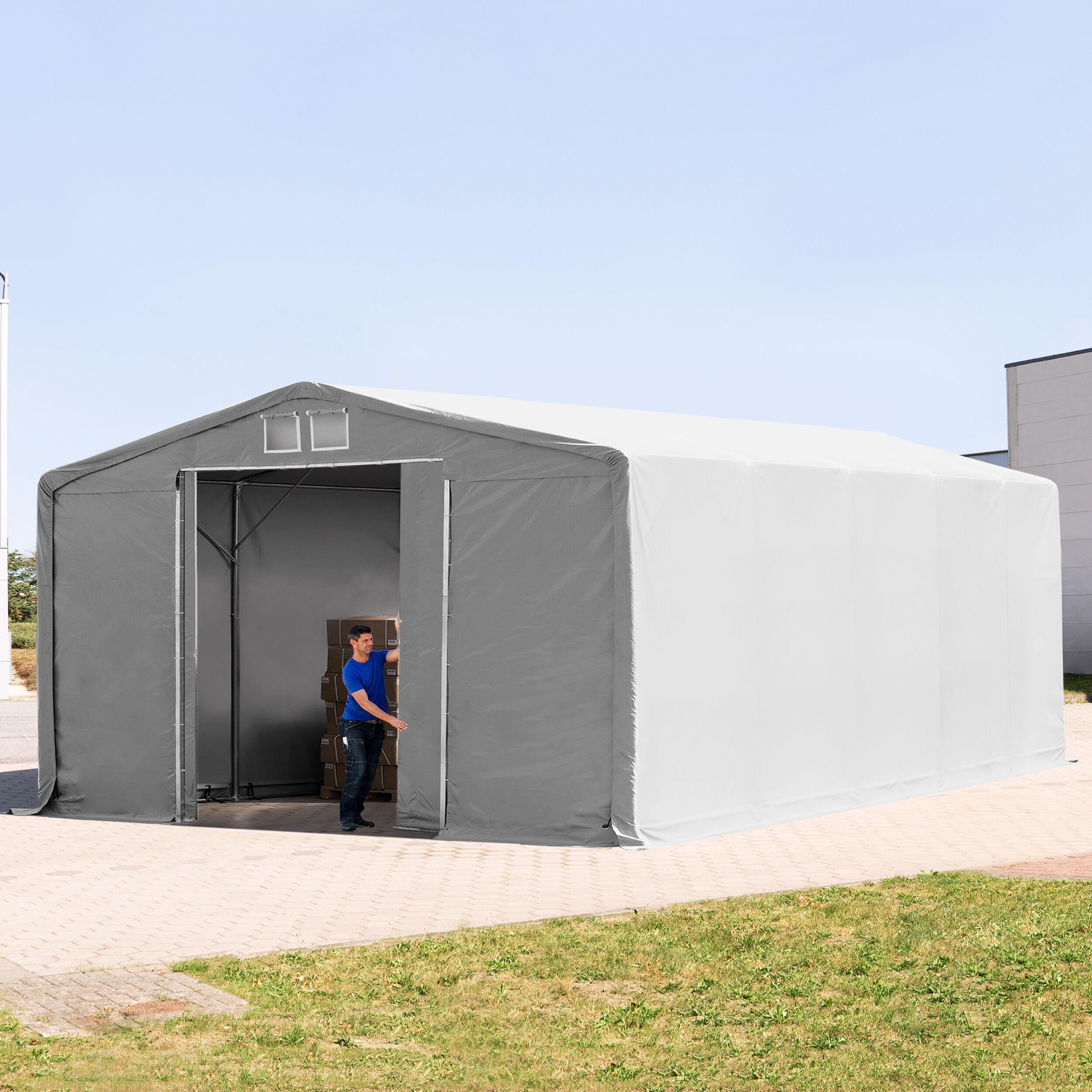 TOOLPORT Industrial Tent 8x10m PVC 550 g/m² grey waterproof