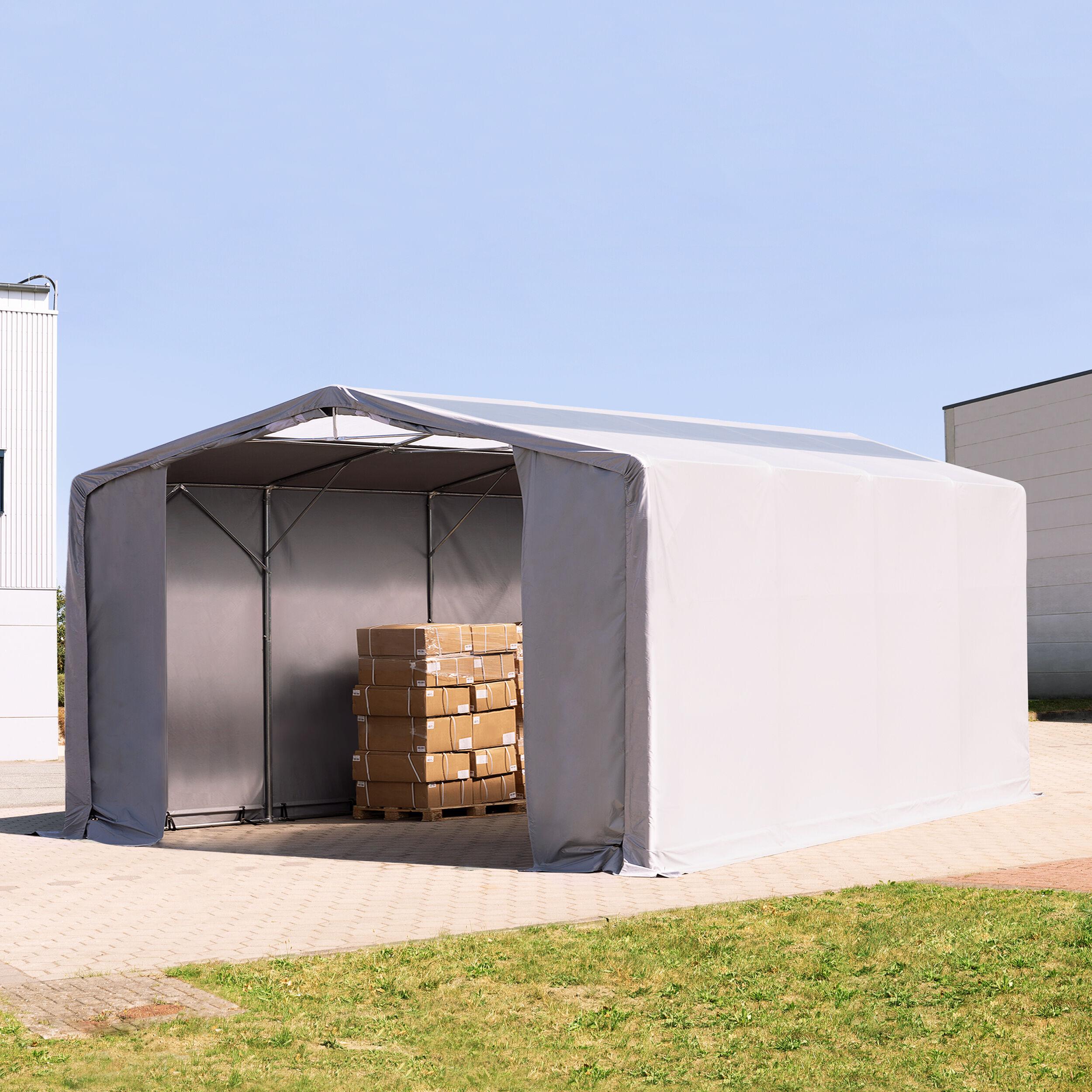 TOOLPORT Industrial Tent 8x8m PVC 550 g/m² grey waterproof