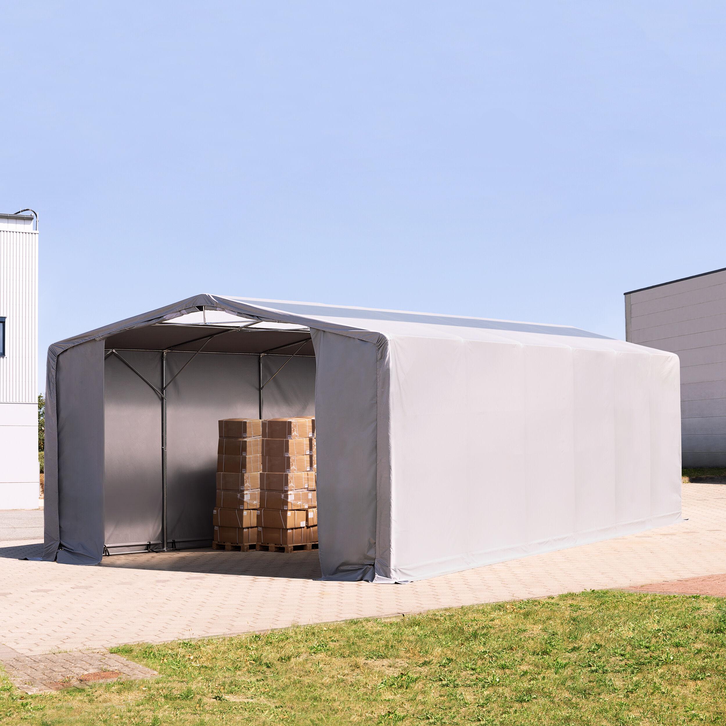 TOOLPORT Industrial Tent 8x12m PVC 550 g/m² grey waterproof
