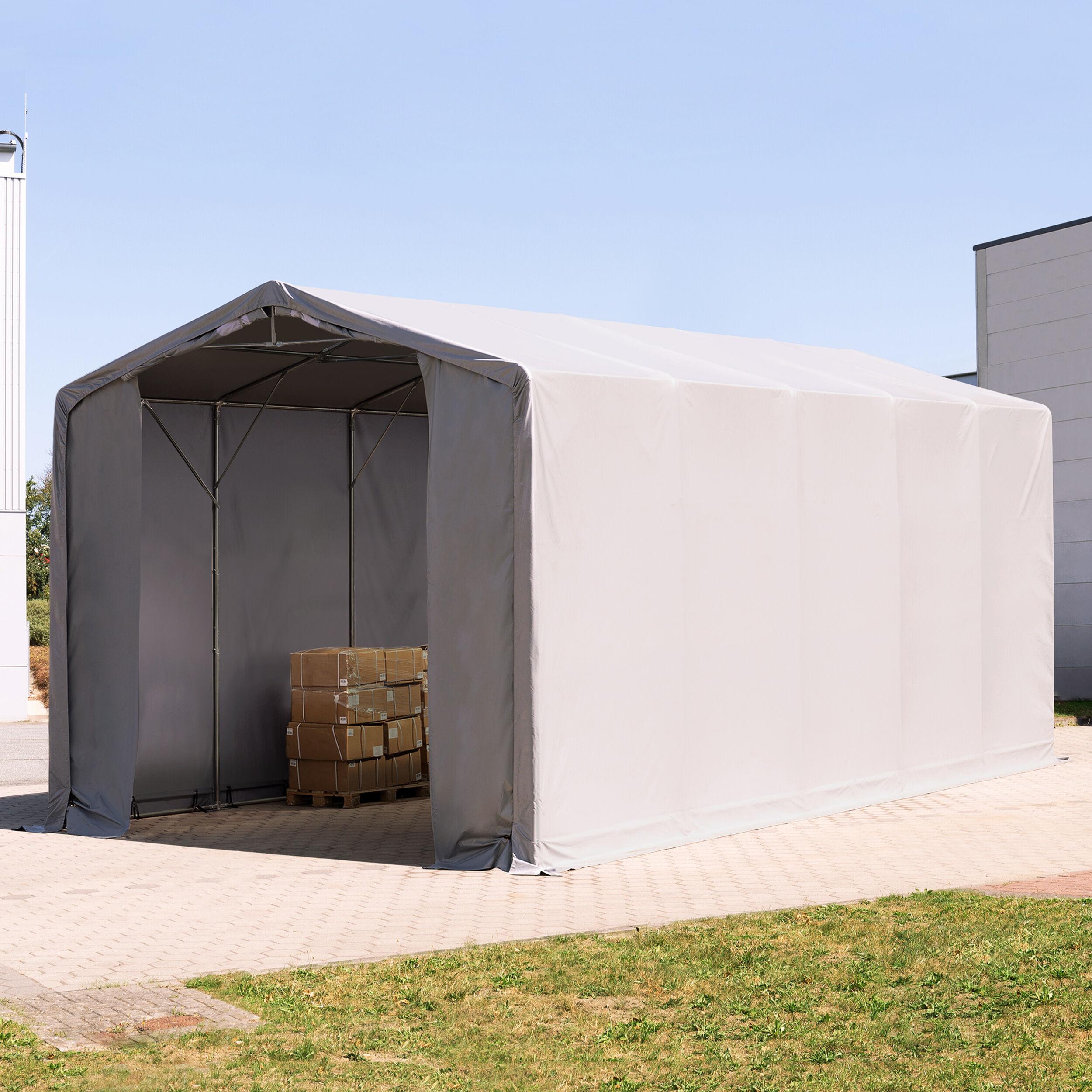 TOOLPORT Industrial Tent 5x10m PVC 720 g/m² grey waterproof