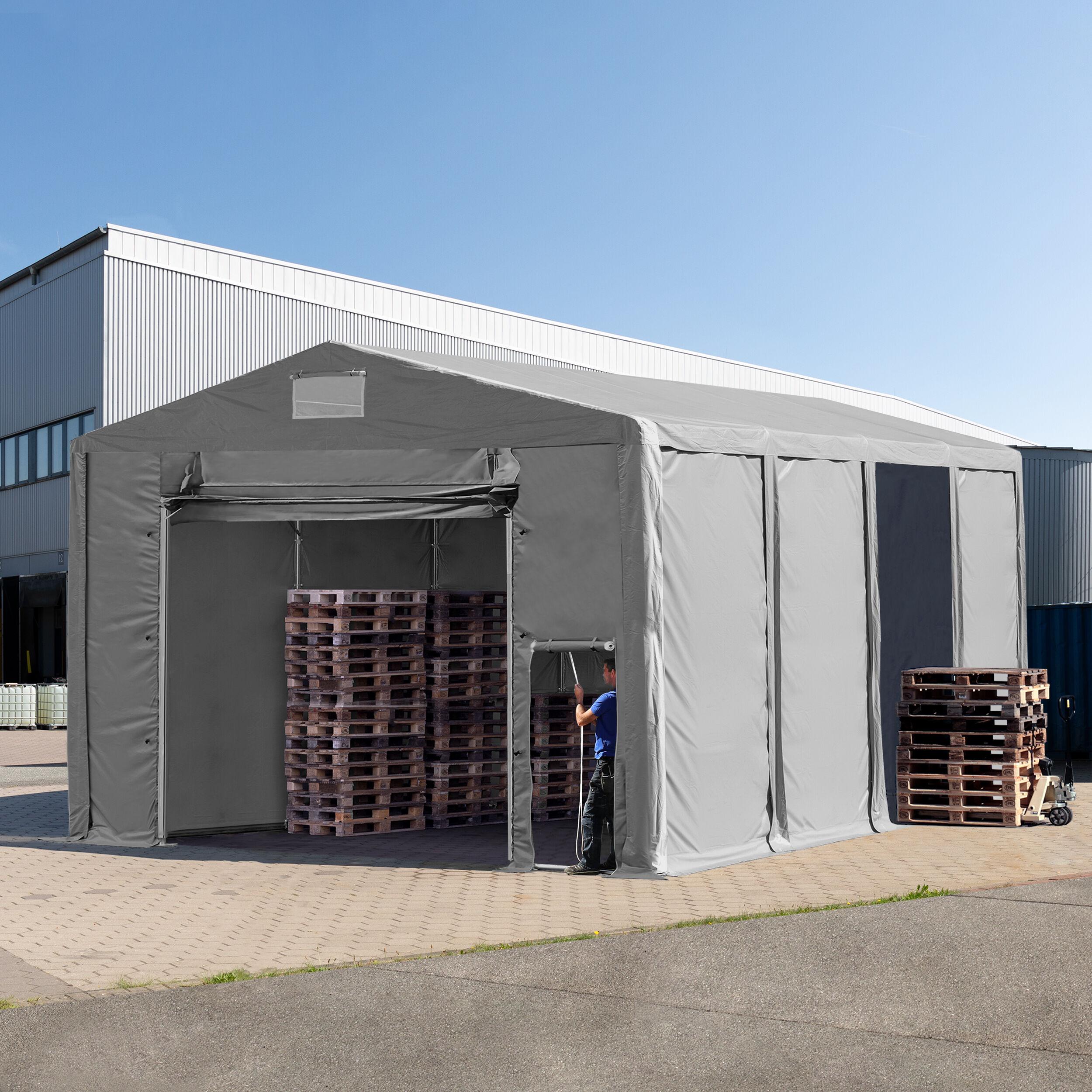 TOOLPORT Storage Tent 8x8m PVC 550 g/m² grey waterproof