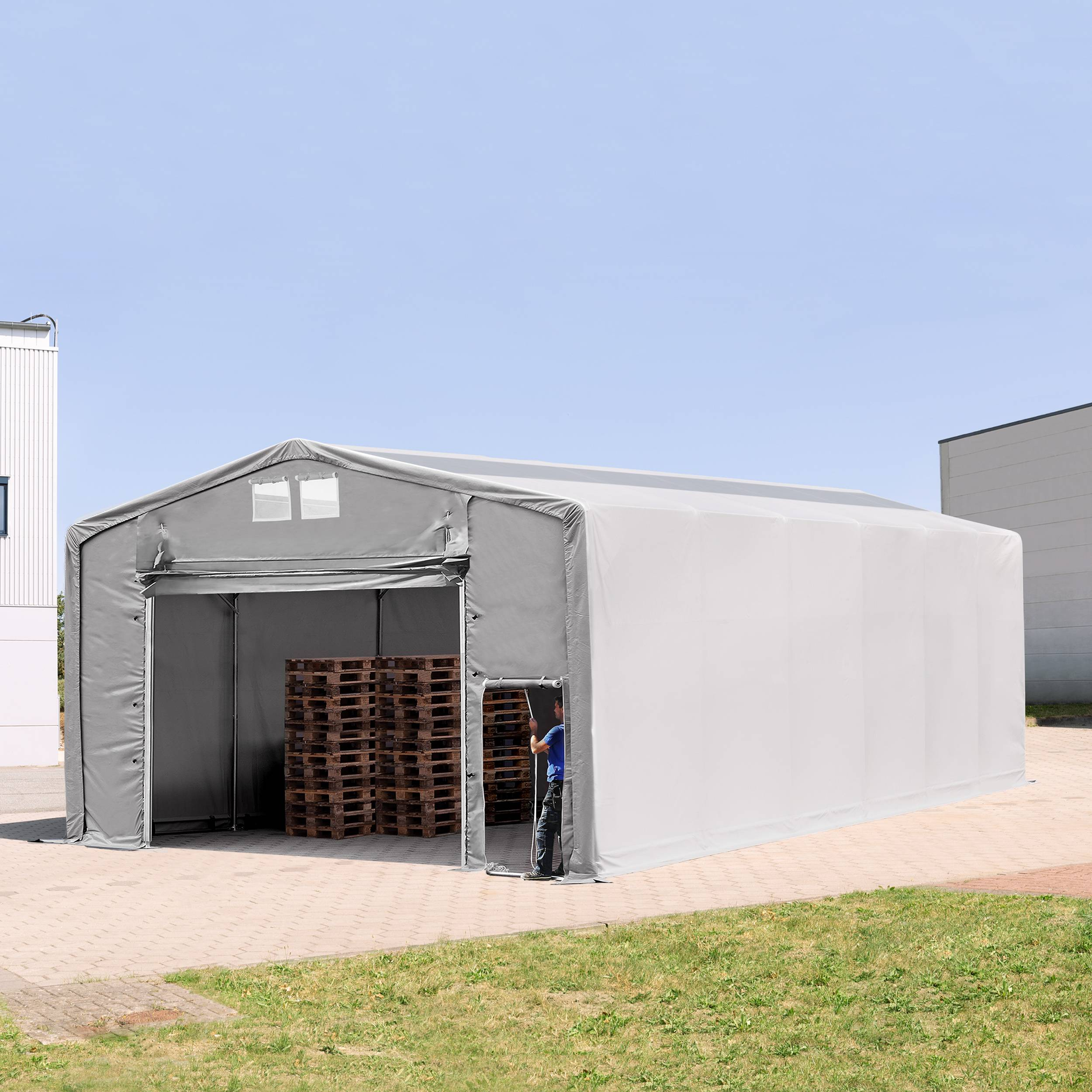 TOOLPORT Industrial Tent 8x12m PVC 720 g/m² grey waterproof