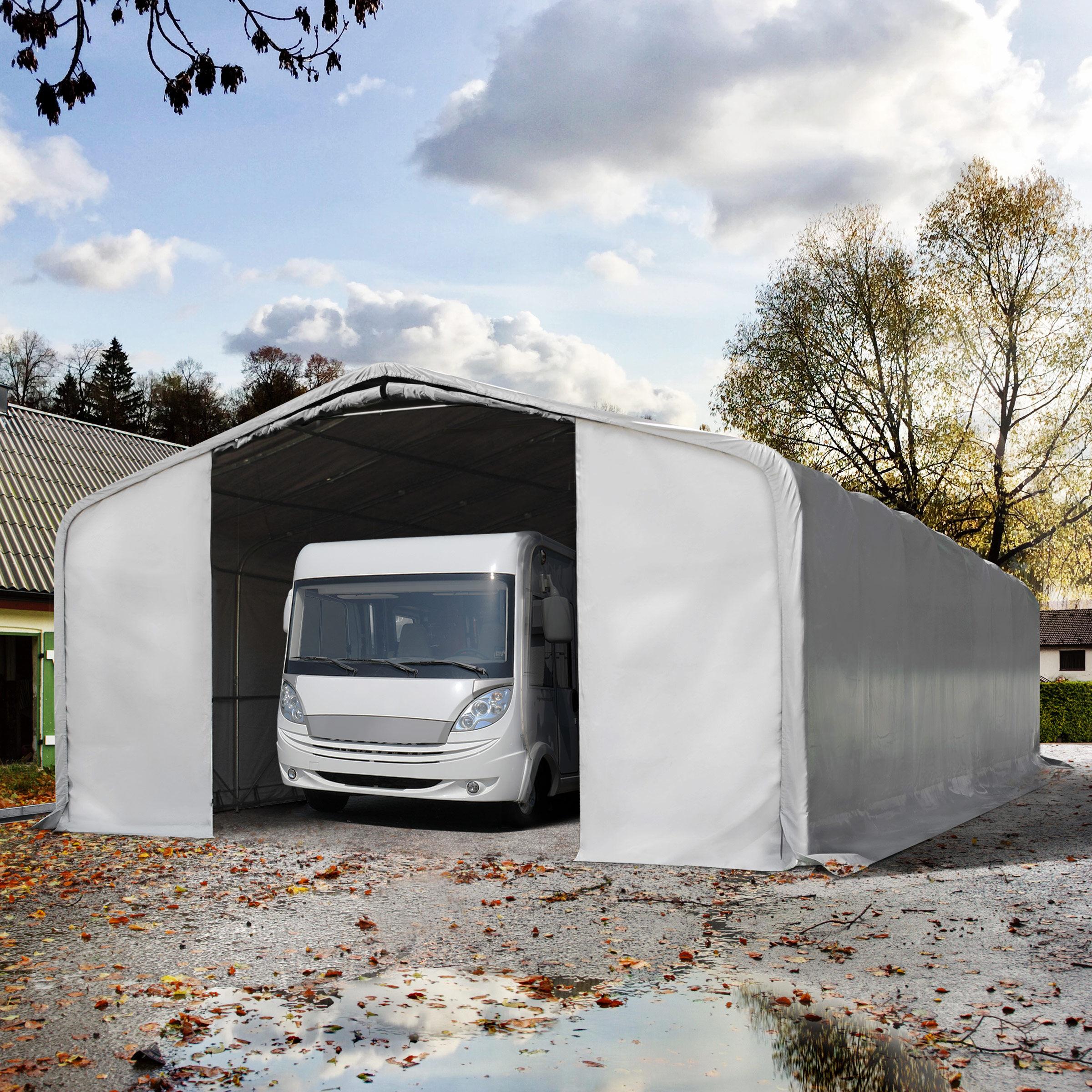 TOOLPORT Portable Garage 8x12m PVC 550 g/m² grey waterproof