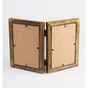 Sass & Belle Double Photo Frame, Dark Wood/Brown