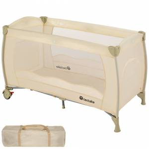 tectake Travel cot for children beige