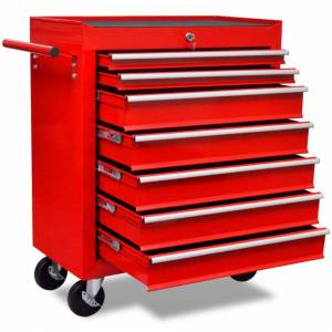 vidaXL 7 Drawers Mechanics Tool Trolley Red Workshop Chest Box Storage Cabinet