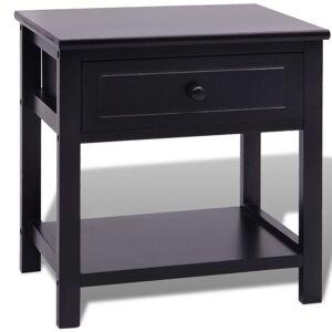 vidaXL Bedside Cabinet Wood Black Storage Chest Nightstand Telephone Stand