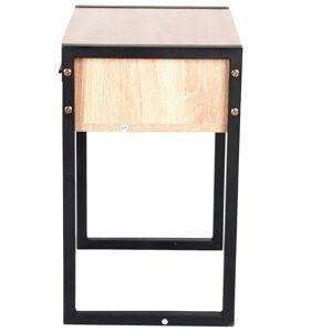 Gr8 Home Wooden Bedroom Bedside Table Cabinet Night Stand Storage Drawer Black Metal Legs