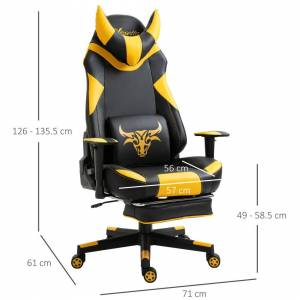 Vinsetto PU Leather Gaming Chair Office Recliner w/ 2 Pillows, Footrest, Yellow