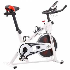SimplyChosen4u Exercise Spinning Bike with Pulse Sensors White and Red