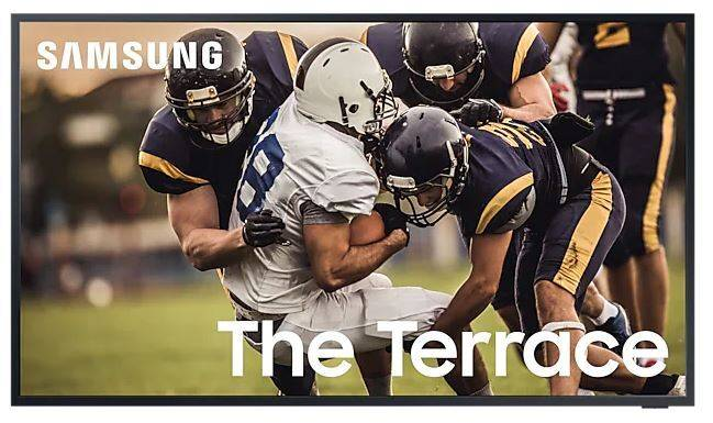 """SAMSUNG The Terrace 55"""" QLED 4K HDR Smart Outdoor TV - Black - G Rated - QE55LST7TCUXXU"""