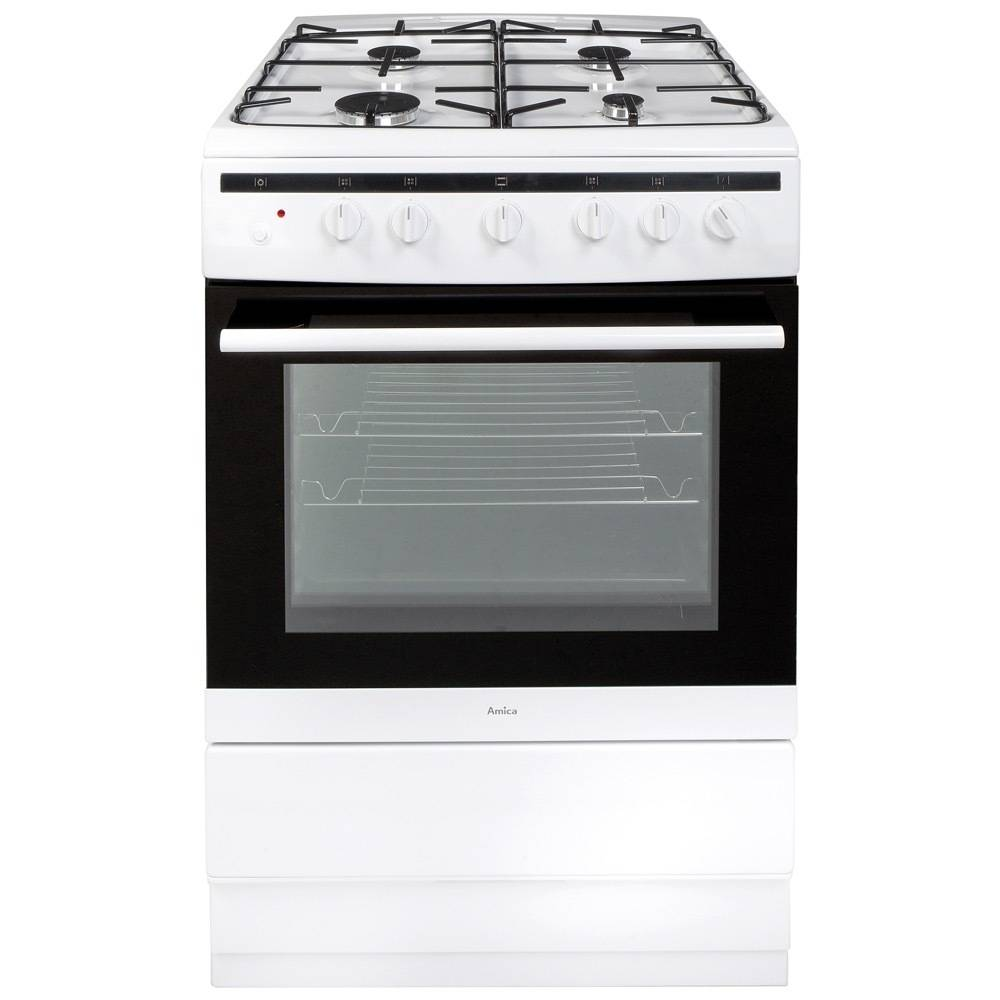 Amica Gas Cooker with Single Oven - White - A Rated - 608GG5MSW