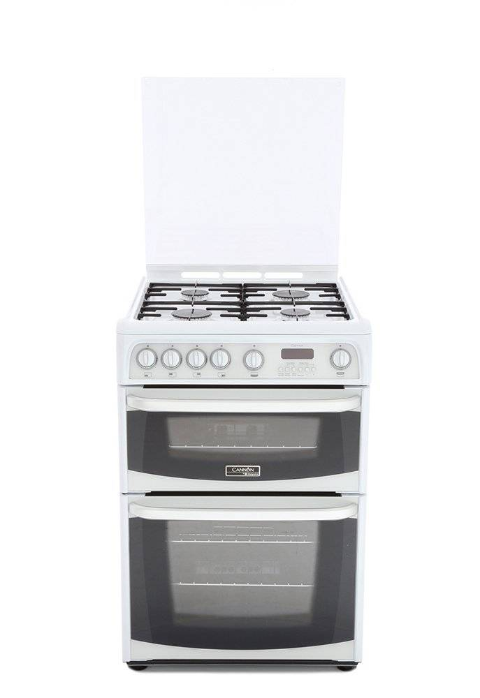 Cannon Gas Cooker with Double Oven - White - A Rated - CH60GCIW