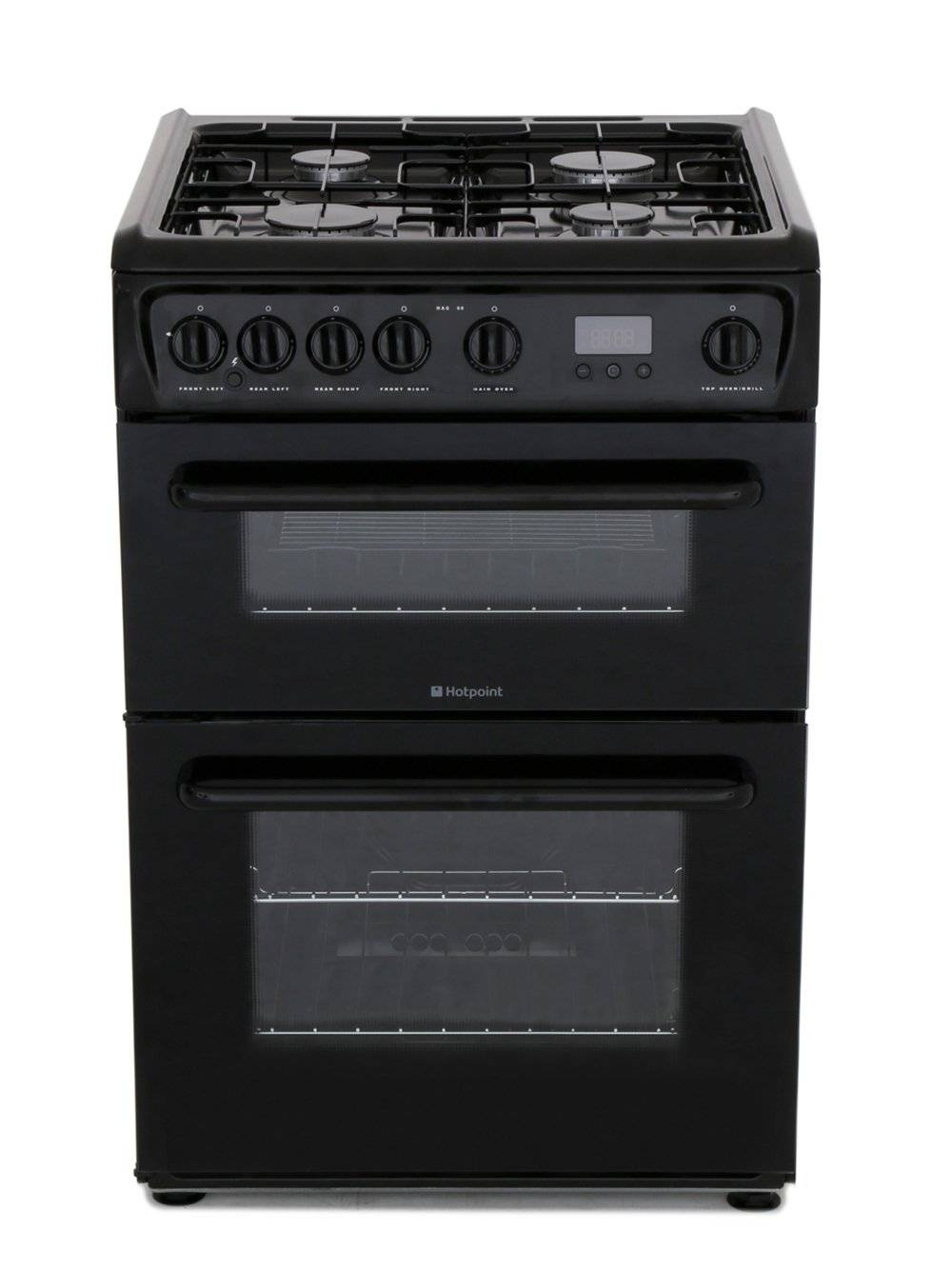 Hotpoint Gas Cooker with Double Oven - Black - A Rated - HAG60K