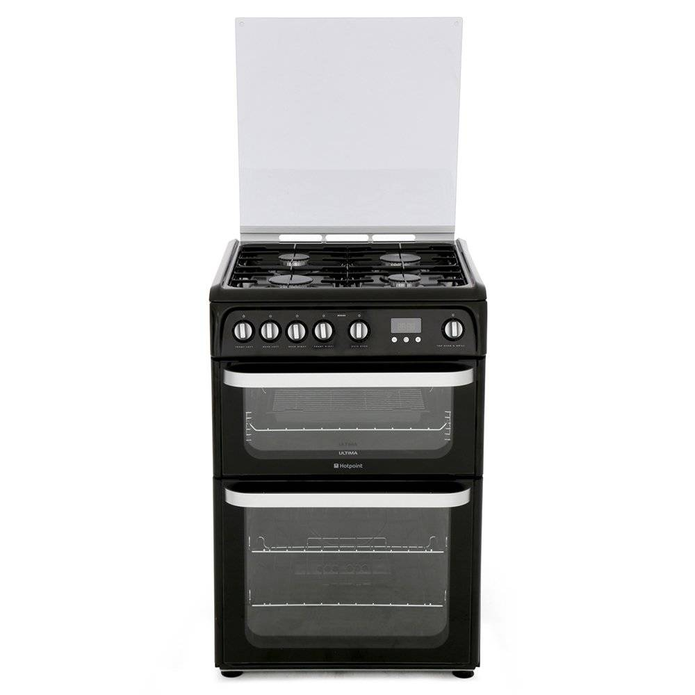 Hotpoint Gas Cooker with Double Oven - Black - A Rated - HUG61K
