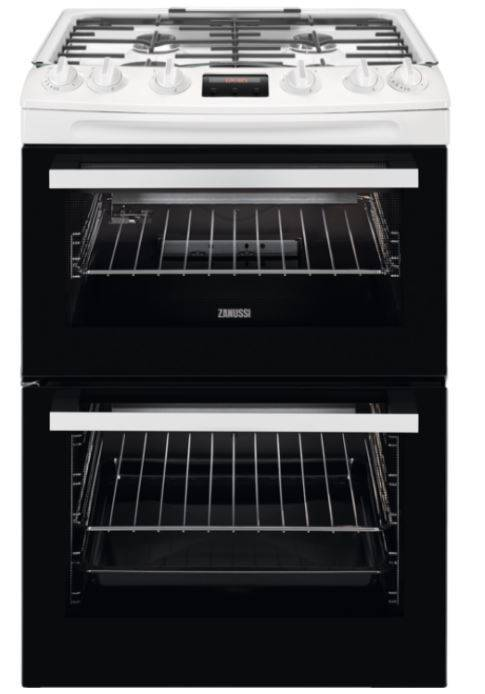 Zanussi Gas Cooker with Double Oven - White - A Rated - ZCG63260WE